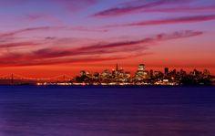 San Francisco, California skyline overlooking the San Francisco Bay at sunrise
