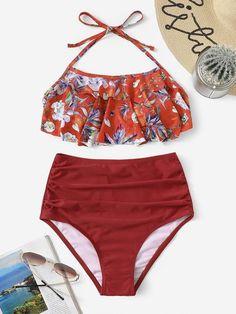 5dfd7da0ee Plus Fishnet Panel Top With High Waist Bikini Set in 2019 | Swimwear ...