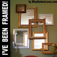 DIY:  Frame & Mirror Collage Tutorial - using smaller unused frames & mirrors to make a big impact. This is an inexpensive project - it would look great if painted the same color.