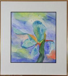 Original Watercolor by Susan Marie Fairclough, Blue Orchid, Framed 20X18