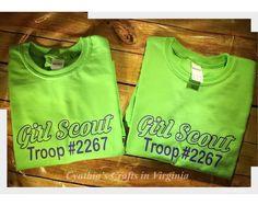 Custom Girl Scouts Troop T-Shirts  #girlscouts #girlscouttroop #troop #gsnc #cynthiascraftsinvirginia #customtshirt #tshirt