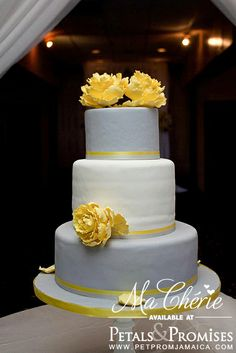 Grey and Yellow Wedding Cake available at www.petpromjamaica.com