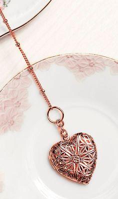 Rose gold heart locket