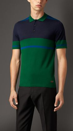Dark pigment green Knitted Merino Wool Polo Shirt - Image 1