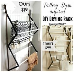 Bad Inspiration Pottery Barn inspired DIY Drying Rack Keeping Your Shower Stalls Clean and Tidy Your Laundry Room Drying Rack, Drying Rack Laundry, Clothes Drying Racks, Laundry Room Organization, Laundry Closet, Hanging Drying Rack, Sawdust Girl, Pallet Tv Stands, Small Laundry Rooms