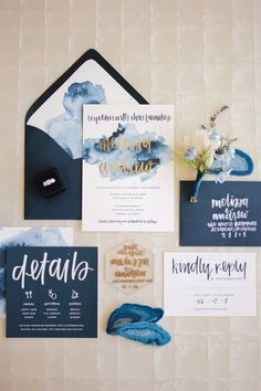 Would prefer less white, but love the cohesion of all the print materials. - This romantic wedding inspiration shoot at the Langham Pasadena offers a variety of color combinations and shades of blue wedding color ideas. Invitation Kits, Gold Wedding Invitations, Wedding Invitation Wording, Wedding Stationary, Wedding Cards, Wedding Programs, Wedding Venues, Invitations Online, Wedding Vows