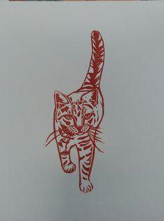 Fishy Cat Strut Linocut www.deborahvass.com