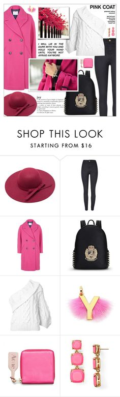 """""""Look # 706"""" by lookat ❤ liked on Polyvore featuring Topshop, Rosie Assoulin, Fendi, Acne Studios, Kate Spade, Flowers, hat, oneshoulder and pinkcoats"""