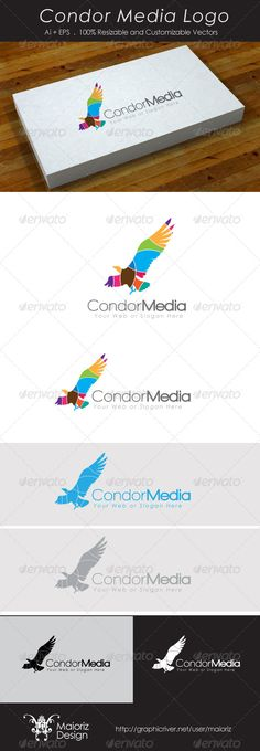 Buy Condor Media Logo by maioriz on GraphicRiver. Condor Media Logo Template professional, stylish and modern. Vector AI+EPS , easily customizable and scalable. Logo Design Template, Logo Templates, Hope Logo, Media Logo, Media Media, Condor, Bird Logos, Portfolio Logo, Eagle Logo