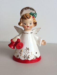 Vtg Napco Christmas bell Angel girl holding red bells Japan | eBay Christmas Jesus, Old Fashioned Christmas, Antique Christmas, Christmas Past, Retro Christmas, Vintage Holiday, Christmas Stuff, Christmas Figurines, Christmas Ornaments
