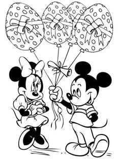 Minnie And Mickey Easter Eggs Balloons Disney Coloring Pages
