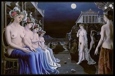 Identified with the Belgian Surrealist movement, although never an official member, Paul Delvaux was influenced by his contemporary René Magritte, as well as by the Italian Metaphysical and proto-Surrealist painter Giorgio de Chirico History Museum, Art History, Paul Delvaux, Art Gallery, Rene Magritte, Sculpture, Surreal Art, Metropolitan Museum, Natural History