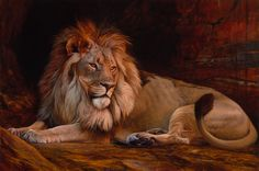 Noble Fascination By Julie Bell | Lion Painting | Available By Artist