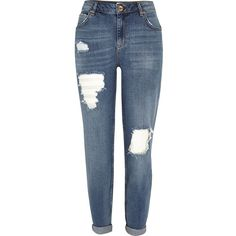 River Island Mid blue wash ripped Ashley boyfriend jeans (2.300 RUB) ❤ liked on Polyvore featuring jeans, pants, bottoms, pantalon, distressed jeans, ripped boyfriend jeans, ripped jeans, denim jeans and boyfriend jeans