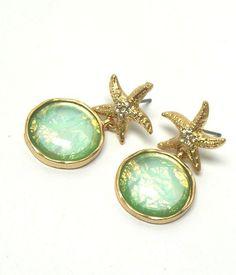 Crystal Starfish with Abalone Finish Bubble Dangle Earrings #DropDangle