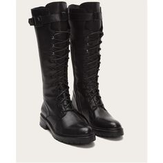 - Italian leather</br>- Leather lined</br>- Leather outsole</br>- Fabric laces</br>- Antique silver hardware</br>- Goodyear welt construction </br>- shaft height</br>- 12 shaft circumference</br>- 1 heel height Lace Combat Boots, Frye Boots, Jeans And Boots, Leather Boots, Riding Boots, Tall Boots, High Boots, Slouchy Boots, Vintage Boots