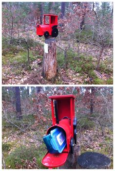 Is it a cool mailbox in the woods? Yes, made even cooler by the fact it's aslo a geocache! (pics from Twitter stitched together by I.B. Geocaching & pinned to Creative Geocache Containers - pinterest.com/islandbuttons/creative-geocache-containers/) #IBGCp