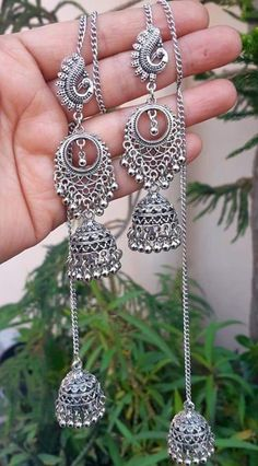 Fine Silver jewelry Videos - Silver jewelry Indian Mexico - Antique Silver jewelry Necklace - Silver jewelry For Men Guys Indian Jewelry Earrings, Indian Jewelry Sets, Jewelry Design Earrings, Silver Jewellery Indian, Silver Jewelry, Silver Rings, Antique Jewellery Designs, Fancy Jewellery, Trendy Jewelry