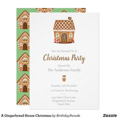 A Gingerbread House Christmas Invitation Gingerbread House Parties, Gingerbread Man, House Party Invitation, Christmas Party Invitations, You Are Invited, Party Hats, Wine Recipes, Merry, Xmas