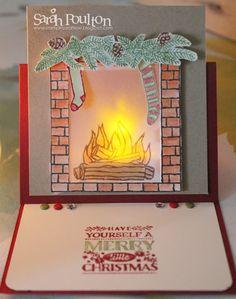 A Festive Fireplace Easel Card Sneak Peek from Stampin' Up! Easel Cards, 3d Cards, Pop Up Cards, Stampin Up Cards, Holiday Cards, Christmas Cards, Christmas 2015, Fancy Fold Cards, Folded Cards