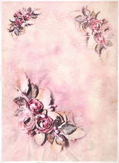 Ricepaper for Decoupage Decopatch Scrapbook Craft Sheet A/3 Roses on Pink Color