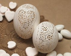 Hand Carved Victorian Lace Duck  Egg: by theNestatWindyCorner