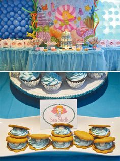 under the sea birthday party with sea shell cookies