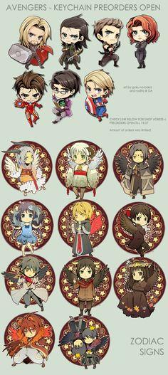 Avengers- Zodiac- Keychain preorders open by goku-no-baka.deviantart.com on @deviantART