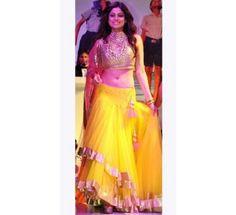 New Samita Shetty In Yellow And Pink Lehenga
