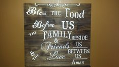 FOOD BLESSING SIGN/Bless the Food Before Us Sign/Family And Friends Food Blessing Sign/Dining Room Sign/Kitchen Sign Love My Family, Gifts For Family, Bless The Food, Food Signs, Rustic Wood Signs, Kitchen Signs, Family Signs, Before Us, Hostess Gifts