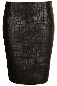 Topshop Boutique leather croc embossed pencil skirt