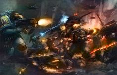 "Warhammer 40k, Space Wolves Legion - ""Space Wolves in combat against the Forces of Chaos during the First War for Armageddon."""