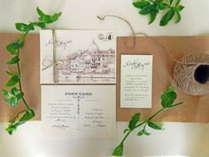 Vintage Postcard Wedding Invitation & by DespinaGraphicDesign https://www.etsy.com/shop/DespinaGraphicDesign