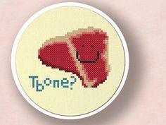 Happy T-bone Steak. Cross Stitch PDF Pattern by andwabisabi