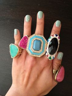 Oh La La, is right. I want love all of these fabulous rings. Bold Jewelry, Statement Jewelry, Jewelry Box, Jewelery, Jewelry Accessories, Fashion Accessories, Fashion Jewelry, Bling Jewelry, Big Rings