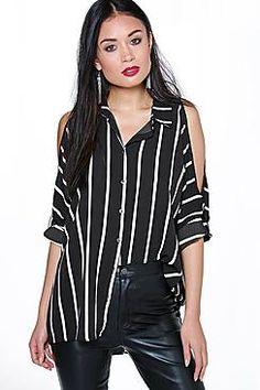 Anisha Oversized Split Sleeve Stripe Shirt