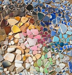 A rainbow of pottery pieces from the ocean
