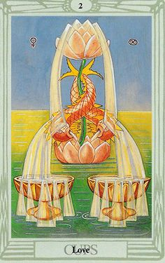 """Free Daily Tarotscope — Feb 8, 2015 — Two of Cups -- Love and romance are in the air today — hopefully for you — courtesy of the Thoth deck's version of the Two of Cups.  The Two of Cups is known as the """"Love"""" card as it refers to that love at first sight sense of finding your other half. It's the mutual attraction card, the soul mate"""" card, and so much more. It's the process of falling in love or renewing a love connection that replenishes itself over time. (more)..."""