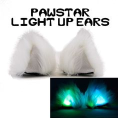 Pawstar Light Up Clip on Ears Hairclip in Kitty Cat Fox Wolf Bear... ($52) ❤ liked on Polyvore featuring accessories, barrettes & clips, blue and hair accessories