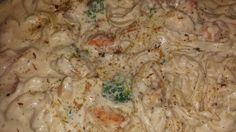 Jerk shrimp fettuccine Alfredo