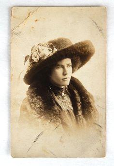 Vintage PRPC Photo Postcard Edwardian Young Lady Large Hat Fur Coat, Real Photo Postcard Wealthy Edwardian Beautiful Lady