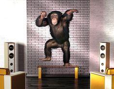 Muurtattoo 291 Cheery Monkey 60x79CM Monkey, Home Decor, Jumpsuit, Decoration Home, Room Decor, Monkeys, Interior Design, Home Interiors, At Sign