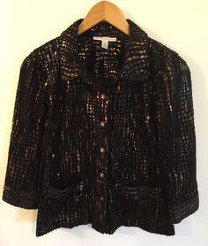 JM Collection Petite Women's Blazer Coat Jacket Size 8P Black Metallic Crochet #JMCollection #BasicJacket