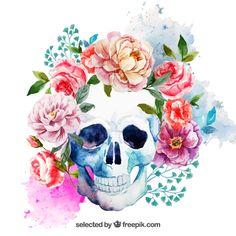 Cráneo de acuarela con flores Vector Gratis