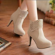 Rivet side zipper super high heels shoes