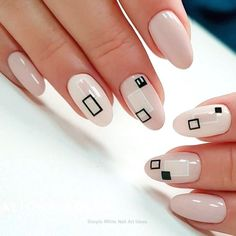 Geometric nail art designs look beautiful and chic on short and long nails. Geometric patterns in any fashion field are the style that fashionistas dream of. This pattern has been popular in nail art for a long time, because it is easy to create in n Black And White Nail Designs, Black White Nails, White Nail Art, Nude Nails, Gel Nails, Nail Polish, Colorful Nail Designs, Nail Art Designs, Geometric Nail Art