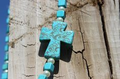Turquoise Cross/Turquoise Bead/Pearl Necklace by LidsnGlitz