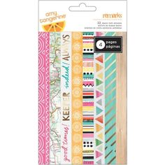 American Crafts Amy Tangerine Rise and Shine Washi Tape Notepad: Amy Tangerine Rise & Shine Washi Tape Notepad. These multi-purpose decorative tape strips will brighten your crafting ventures! Each pad contains 4 pages and 32 different designs. Paper Craft Supplies, Arts And Crafts Supplies, Paper Crafts, Washi Tape Planner, Washi Tape Set, Planner Stickers, American Crafts, Craft Sale, Craft Stores