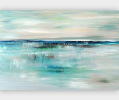 Abstract Seascape Giclee Print, Turquoise Blue Art Print on Canvas from Original Painting Contemporary Artwork Giclee Wall Art by Julia Bars