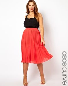I must own this... ASOS CURVE Midi Skirt With Pleats